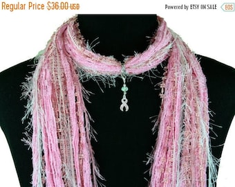 Pink Ribbon Breast Cancer Scarf Necklace, Pink Scarf, Breast Cancer Donation, Women's Cause