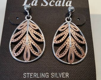 La Scala Sterling Silver with Rose Gold accents pendant & pierced Earrings.  New