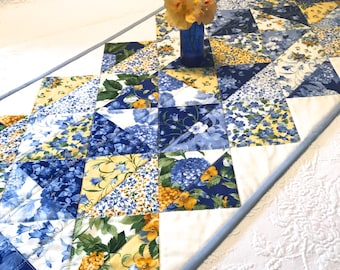 Blue and Yellow Quilted Table Runner