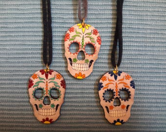 OOAK  Mexican Day of the Dead Calavera Necklace