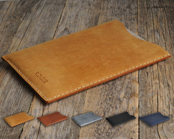 Sony Xperia Z4 Tablet Personalized Sleeve Cover ENGRAVE YOUR Name Waxed and Aged Leather Rought Style Bag