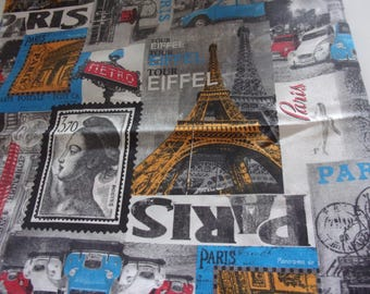 Fabric upholstery 50 x 65 cm vintage Paris style