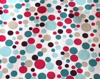 Coupon 50 x 70 cm turquoise and pink dots cotton
