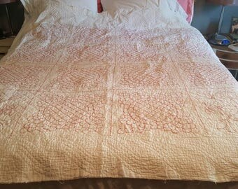 Red Hand Stitched Quilted Coverlet
