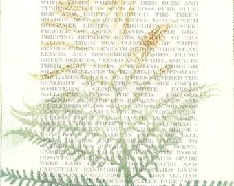 Original monoprint | Fern frond | Childhood garden | Botanical fine art print | Print making | Garden leaves | One of a kind | Monotype