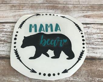 Mama Bear with Frame Vinyl Decal Car Laptop Wine Glass Sticker