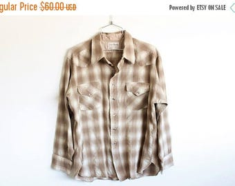 ON SALE Men's XLARGE Vintage 1970s Pendleton 100% Virgin Wool Long Sleeve Flannel with Snap Buttons