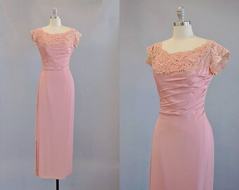 50s Dress // 1950s Muted Pink Silk and Lace Gown // Small