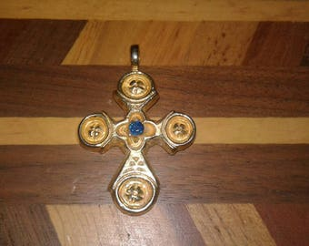 Byzantine Cross from the ALVA Studios  Dark Blue Glass center