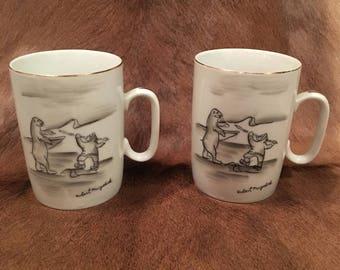 Pair of Rare Vintage Mayokok Mugs