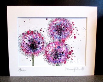 Alliums...An original watercolour, acrylic and pencil painting by Suzanne Patterson.