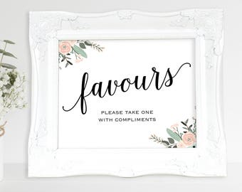 Floral Wedding Favour Sign, Please Take One, Favours Sign, Favour Printable, Wedding Printable, Wedding Favour, PDF Instant Download, MM01-6