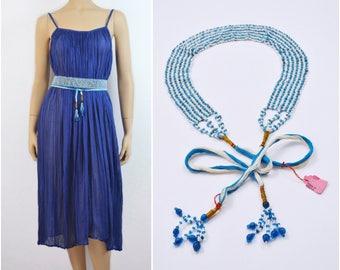 70s vtg Blue Beaded Belt | Boho belt | Deadstock Indian belt | 1970s vintage Hippie belt Bohemian belt Ethnic India belt Gypset Gypsy belt