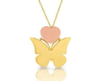 """14k solid gold two tone butterfly with 18"""" chain. engravable butterfly necklace."""