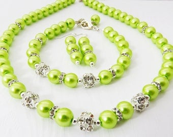 Lime Green Beaded Necklace, Green Bridesmaid Necklace, Bridal Pearl Necklace, Lime Green Jewelry, Wedding Party Pearl Necklace Set