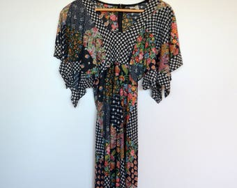Vintage boho 1990's /70's slinky hippie dress with patchwork design and fluttery sleeves - xs/sm