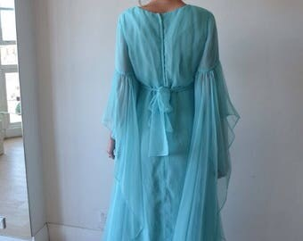 Huge sweeping sleeves vintage chiffon 60's dress in aqua xs-sm
