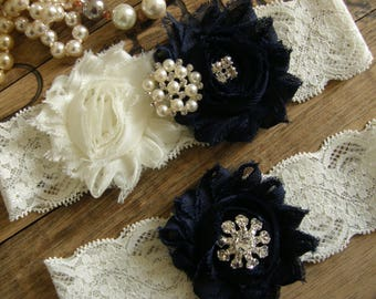 Something Blue / Wedding Garters / Wedding Garter Belt / Ivory / Navy Blue / Bridal Garter / Toss Garter / Vintage Inspired / Garter Set