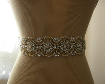 Sale, Gold Wedding Belt, Bridal Belt, Bridesmaid Belt, Sash Belt, Gold, Crystal Rhinestone & Pearl