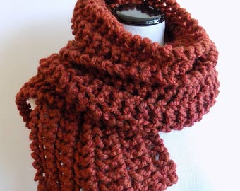 Hand Knit Spice Color Scarf - Knitted Rust Scarf - Chunky Lacey Knit Wide Russet Scarf ~ Hand Knit Warm Winter Wool Blend Scarf