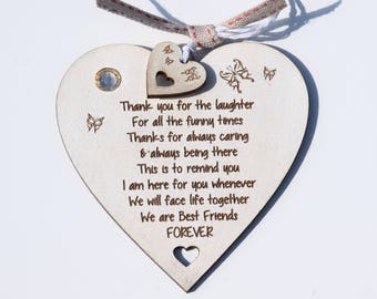 Best Friends Forever Quote on Heart Gift Hanging Decoration Shabby Chic