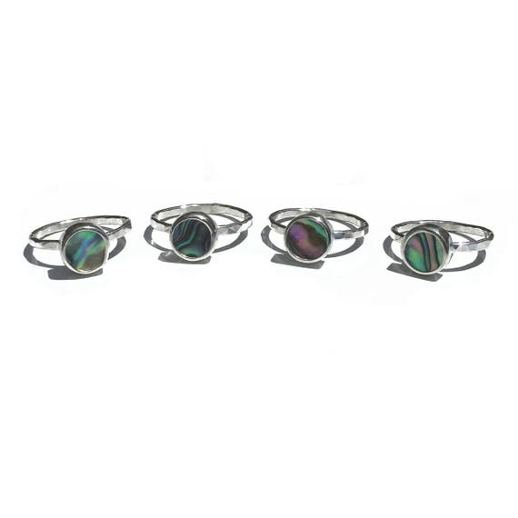 abalone stacking rings - sterling silver