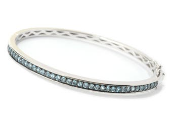 Sterling Silver 1.77ctw Swiss Blue Topaz Bangle Bracelet SZ 7.25
