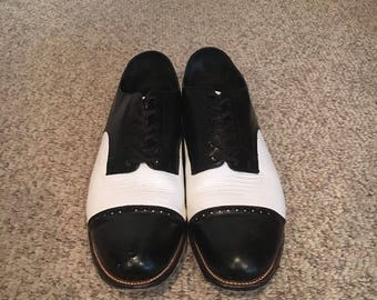 Vintage 1980's Stacy Adams Spectator Black and White Shoes size 14 d/Saddle shoes/Oxford shoes/