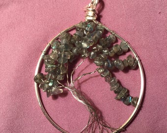 labradorite tree of life necklace with matching earrings
