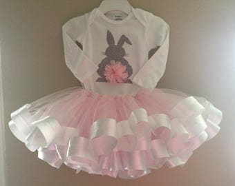 Glitter Bunny Onesie with Pink Tulle Tutu
