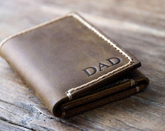 Men's Leather Trifold Wallet Made with Distressed Leather - Holds Lots & Lots of Money #029