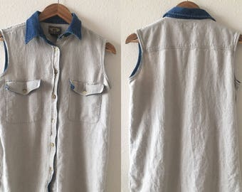 vintage 90's OATMEAL & DENIM linen sleeveless EXPRESS top - small