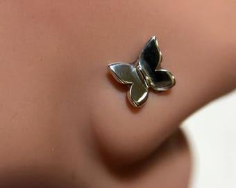 Sweet Little Butterfly Nose Stud - Nickel Free Sterling Silver
