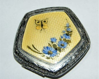 Sterling Silver Guilloche Enamel Compact