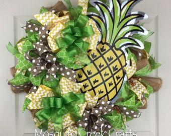 Pineapple Wreath for Front Door, Summer Wreath, Fruit Wreath, Aloha Wreath, Hawaiian Wreath, Welcome Wreath