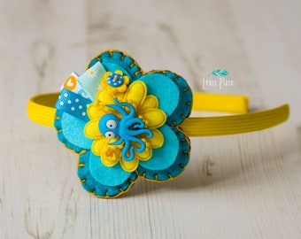 Cute Octopus hairband, Girls Hair Accessories, Flower hairband, Octopus Gift, Sea Creature fan, Mermaid hairband