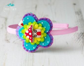 Rainbow Pastels, Toadstool hairband, Fairy House hairband, Toadstool Headband, Rainbow hairband