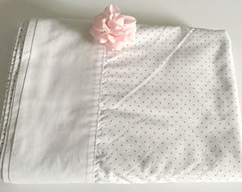 Polka Dotted Queen Flat Sheet, White and Grey Hotel Chic, Monotone Bedding