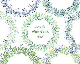 Hand painted Watercolor Wreaths for greeting card, digital card, clipart, printable, instant download, round frame, png, botanic, greenery