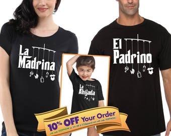 la madrina shirt, el padrino shirt, la ahijada and el ahijado onesie or t-shirt matching shirts (Note@chkout: size/design) - Mix-N-Match!