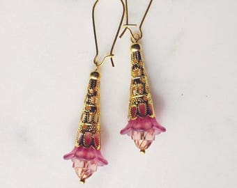 Earrings, dusty pink lucite flower dangle earrings