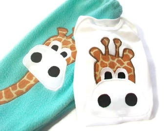 Baby Boy Outfit - Giraffe for baby boy,  Newborn Boy Outfit,  Newborn Baby Boy Clothes,  Baby Boy Pant Set,  Peapodlilfrogs