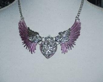 Lila Angel wings necklace , Winged heart necklace , rhinestone heart collar , silvertone bib necklace