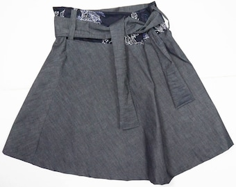 linen skirt with lace closure and inserts