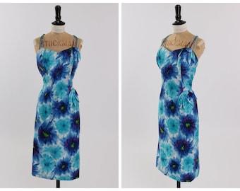 Vintage original 1950s 50s Alix of Miami floral print petal wiggle dress UK 12 14 US 8 10 M