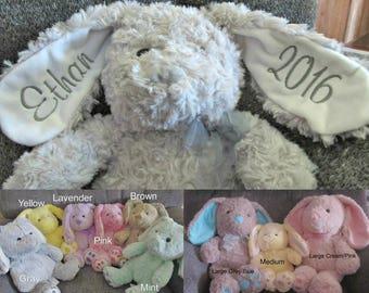 Personalized Bunny, Plush Bunny, Monogrammed Easter Rabbit, Plush Easter Rabbit, Easter Gift, Embroidered Bunny, Baby Gift