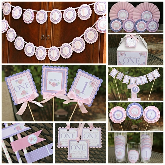 Girl 1st birthday pink and lavender girl birthday party for 1st birthday decoration packages