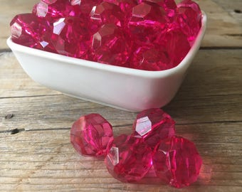 20mm Hot Pink Faceted Transparent Chunky Bead, Hexagon Bubblegum Bead, Hex Acrylic Bead, DIY Chunky Necklace, 10 Count