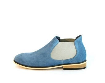 ON SALE Navy blue Suede Chelsea Boots Womens Boots Womens