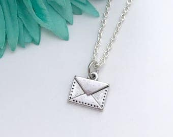 Mail necklace -  envelope letter with chain necklace - fun necklace - silver necklace with lobster clasp - great gift - comes wrapped